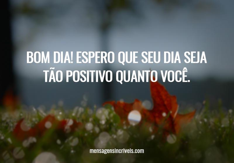 Bom Dia! Espero que seu dia seja tão positivo quanto você.