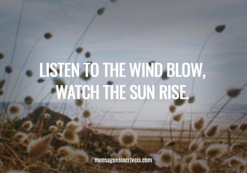Listen to the wind blow, watch the sun rise.
