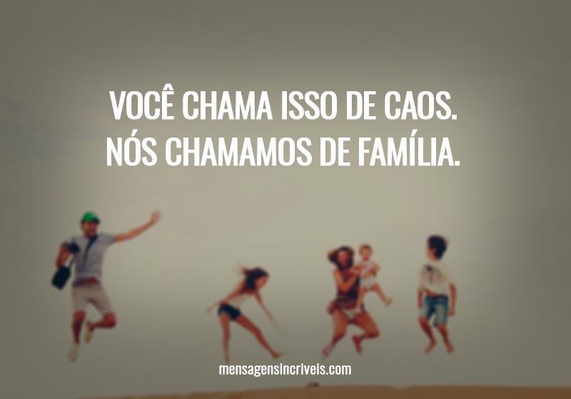 Você chama isso de caos. Nós chamamos de família.