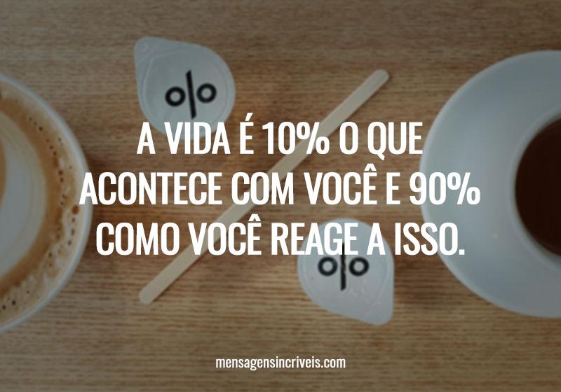 A vida é 10% o que acontece com você e 90% como você reage a isso.